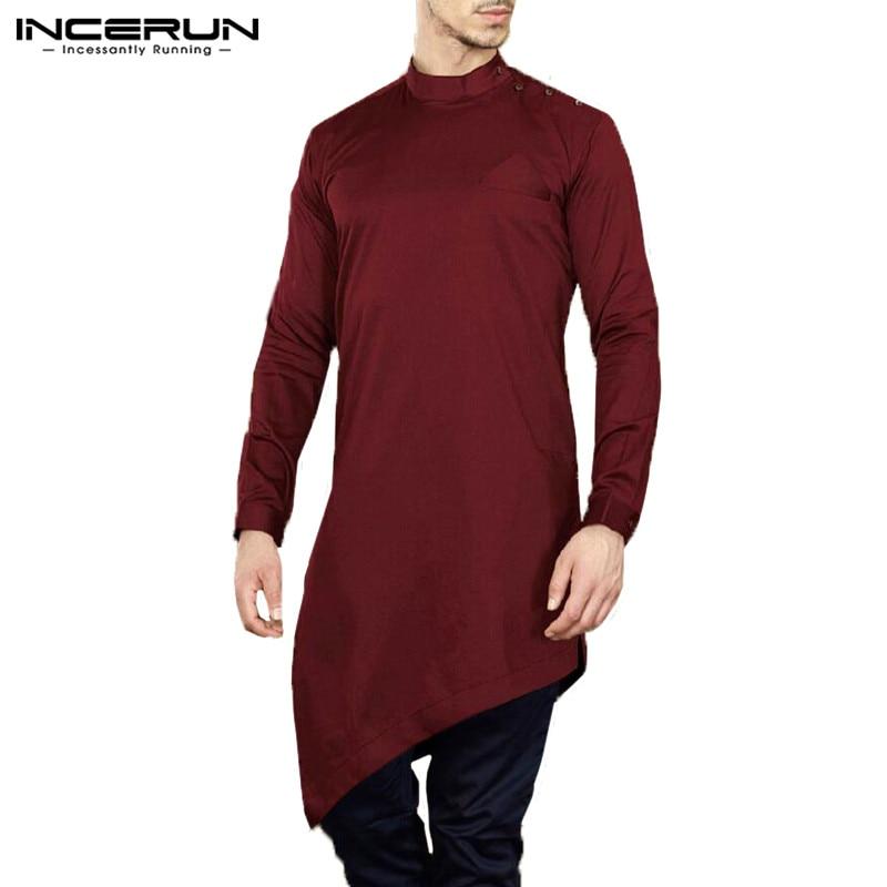 Men/'s Autumn Indian Long Sleeve Shirts Muslim Robe Irregular Hem Button Thobe