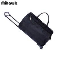 Mihawk Travel Bag Luggage Cart Suitcases On Wheels Waterproof Trolley Rolling Duffel Tote Portable Hand Baggage Packing Supplies