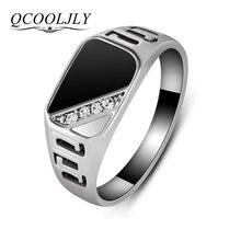 Мужские кольца qcooljly из эмали классические золотистые и серебристые