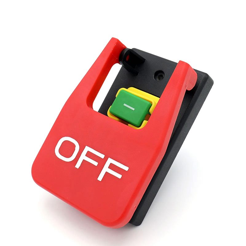 Off-On Red Cover Emergency Stop Push Button Switch 16A Power-Off/Undervoltage Protection Electromagnetic Start Switch