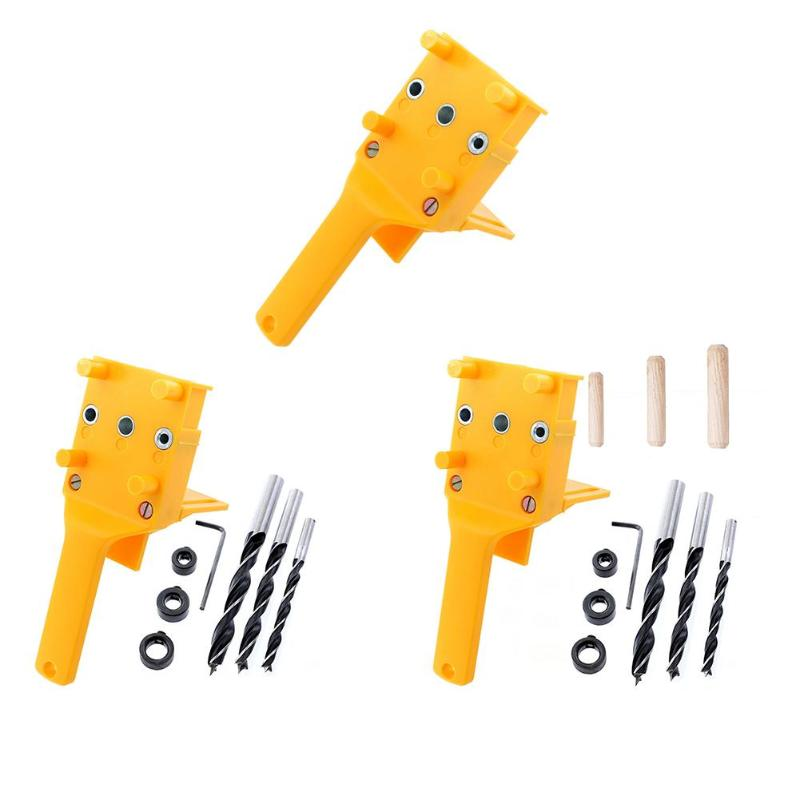 Woodworking Pocket Hole Jig Kit Set 6 8 10mm Drill Guide Metal Sleeve Wood Drilling Doweling Hole Saw Tools Handheld JigsWoodworking Pocket Hole Jig Kit Set 6 8 10mm Drill Guide Metal Sleeve Wood Drilling Doweling Hole Saw Tools Handheld Jigs