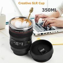 350ML Camera Lens Mug Portable Travel Coffee Tea Mug Water Bottle Home Drinkware Camera Lens Creative Cup with Lid for Birthday creative stainless steel simulation slr camera lens thermos mug cup w cup lid black 420ml
