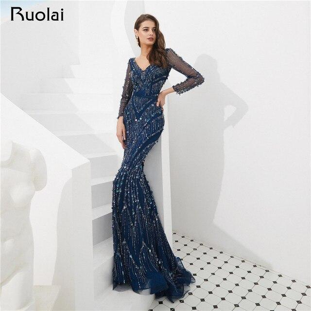 Navy Blue Elegant Evening Dresses Long Sleeve Beaded Evening Gown Mermaid Prom Dress 2019 Vestido de Fietsa SN2