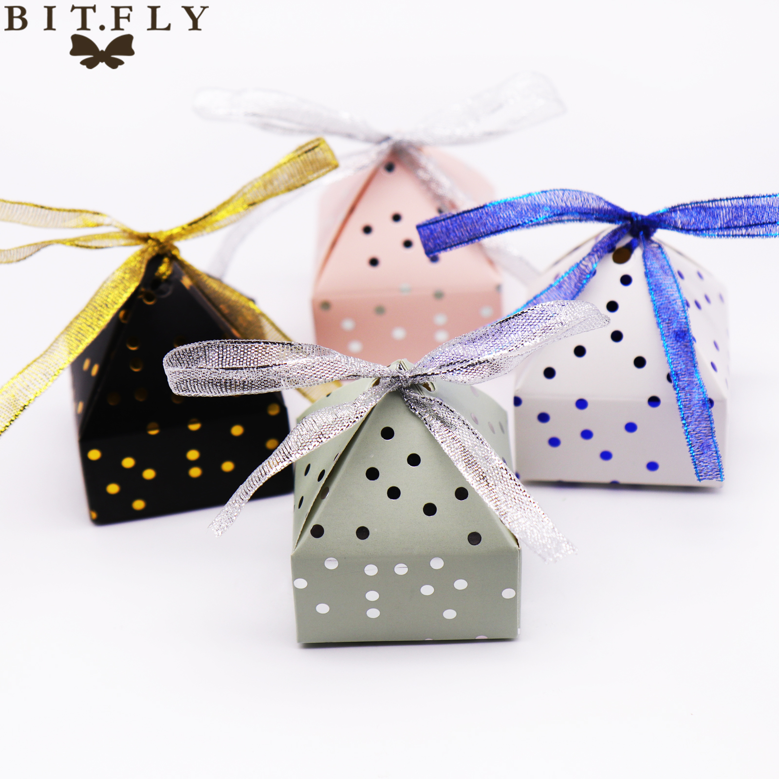 BIT.FLY (6x6x7.5cm)New Bronzing Dot Paper Candy Box Gold/Sliver Foil Paper Gift Box For Wedding Birthday Party Christmas
