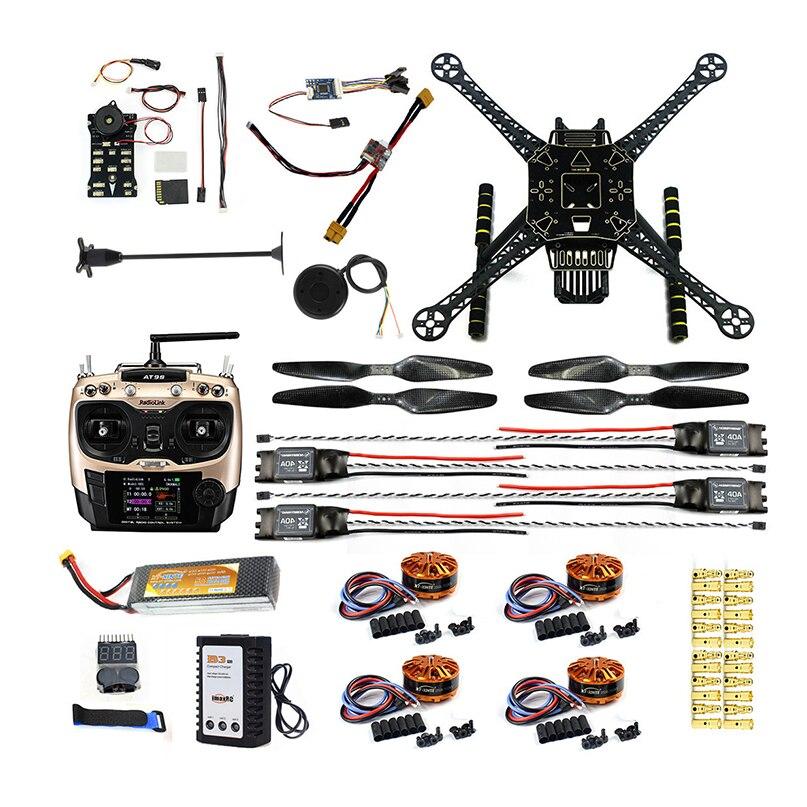 Πλήρης σειρά DIY FPV Drone S600 4 άξονα Αεροπλάνο Quadcopter w / Pix2.4.8 Έλεγχος πτήσης GPS 7M 40A ESC 700kv Κινητήρας AT9S TX RX Μπαταρία