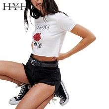 HYH Haoyihui Summer Girls Pure Color Tops White Printed Flower T-shirt Simple Commuter Rose Print Letter