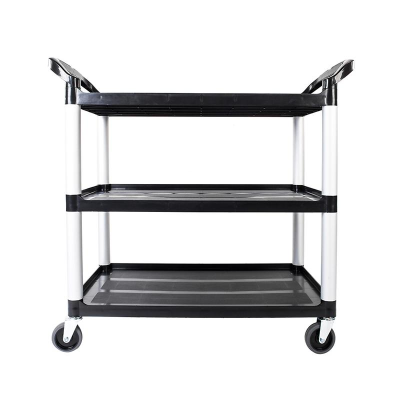 Portable Three-layer Plastic Cart Black With Pulley Living Room Kitchen Supplies