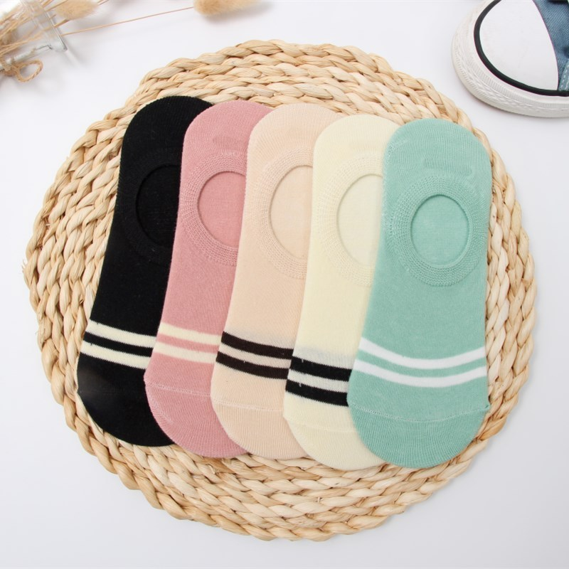 Colorful Stripe Invisible Short Woman Sweat Summer Comfortable Cotton Girl Women's Boat Socks Ankle Low Female 1pair=2pcs Ws97