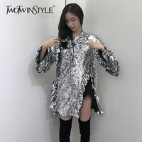 TWOTWINSTYLE Autumn Heavy Sequins Women's Shirts Long Sleeve Ruffle Split Irregular Blouse Tops Female Club Clothes 2018 New