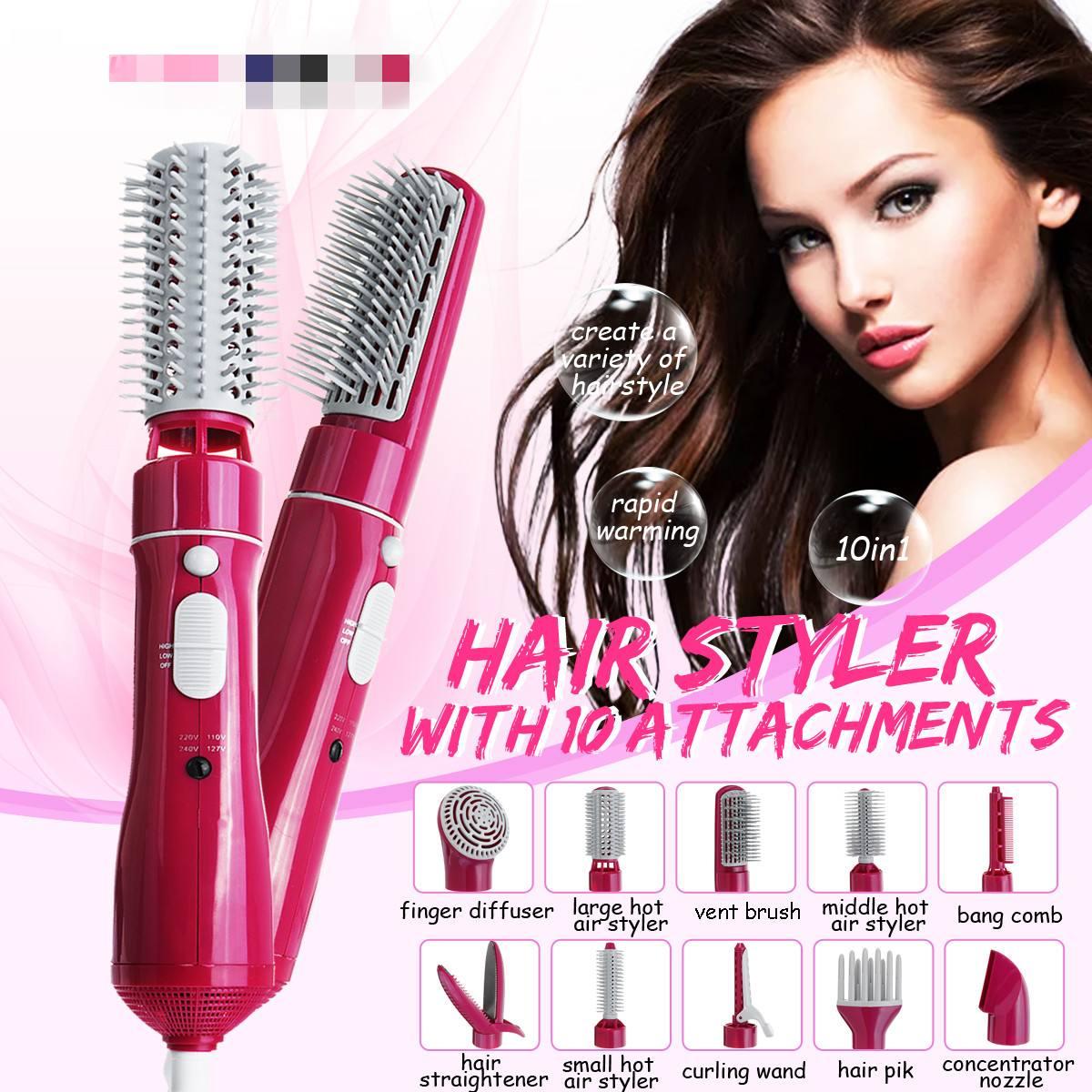10in1 Professional Hair Trockner Schlag Curler 110-220 V Mit Kämme Pinsel Curler Multifunktionale Salon Haar Styling Werkzeug EU stecker