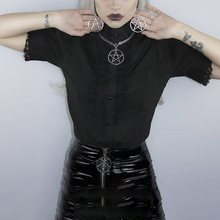 Rosetic Women Gothic Blouses Lace Vintage Draped Patchwork Lolita Style Solid Black Sexy Slim Summer Top Girl Elegant Goth Shirt