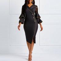 Black Bodycon Midi Dress Women Autumn Lace Ruffle Sleeve Vintage Elegant Office Party Slim Female High Waist Split Sexy Dresses