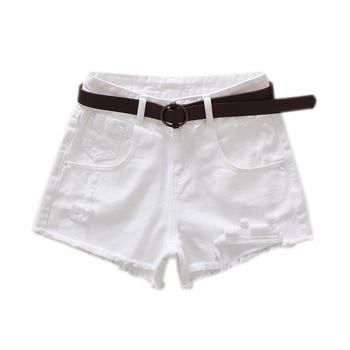 White Denim Shorts Women High Waist Sexy Frayed Hem Summer Shorts Casual Ripped Holes Shorts Feminino studded frayed hem denim jacket
