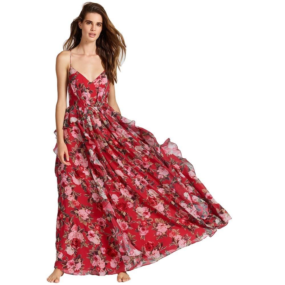 PEONFLY красный цветочный принт, сексуальные кружевные женские макси платья с v-образным вырезом, летнее пляжное длинное платье с открытой спин...