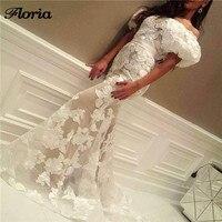 Robe de soiree White Arabic Lace Evening Dress Turkish Aibye Elbise Mermaid Party Gown Abendkleider Dubai Muslim Long Prom Dress