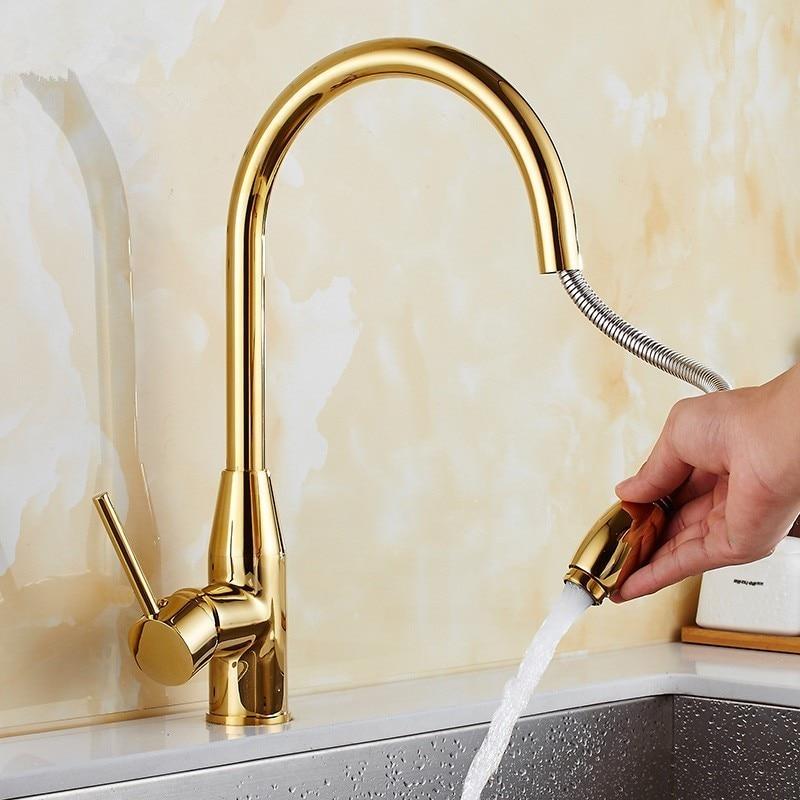 Robinet de cuisine Azeta nouveau Design doré robinet de cuisine rotatif 360 monté à l'eau froide et chaude robinet de cuisine Mk9874g