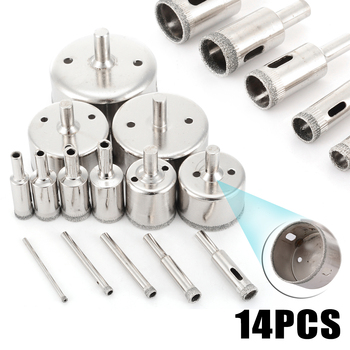 цена на 14pc/set New Diamond Drill Bit Tile Glass Hole Marble Glass Hole Cutter Ceramic Hole Saw Set 3-70mm
