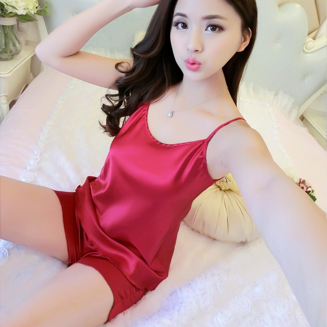 Women Casual Sleeveless Solid Faux Silk Loose Sling Top Shorts   Pajamas     Set   Above Knee Casual, Home, Night