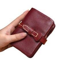 Купить с кэшбэком Short Genuine Leather Wallet Women Wallets Coin Purse Zipper Woman Wallets Ladies Purses Money Pocket Clutch Bags Card Holders