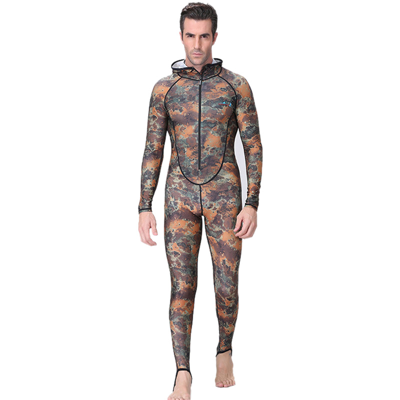 New Sale Dive&Sail Spearfishing Couple Suit Camo Skin Dive Wetsuit One Piece With Hood Jump Uv Protection Men Diving Suit