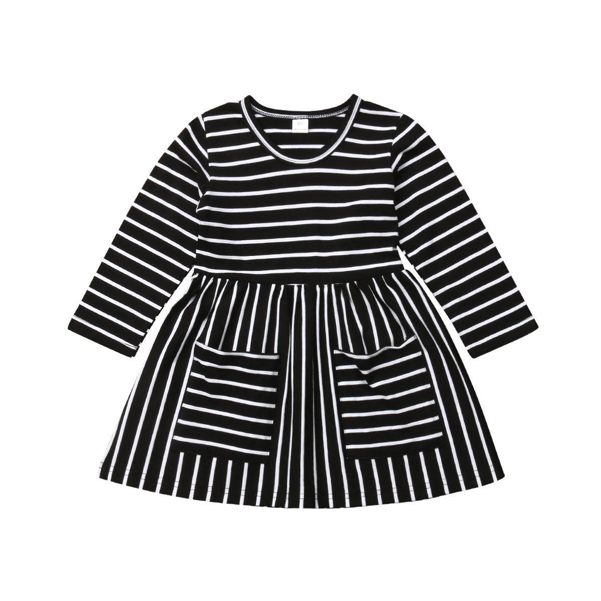 Fall Fashion Infant Baby Girl Dress Casual Long Sleeve Stripe Girl Party Clothes
