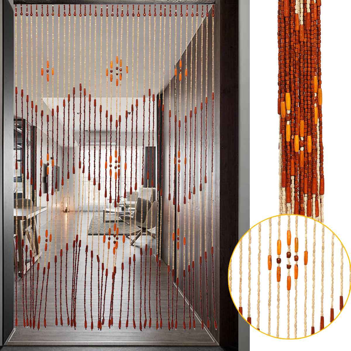 Fashion Wooden Door Curtain Blinds Handmade Fly Screen Wooden Beads Room Divider 90x175cm-38 Wave / 90x195cm-36 Line