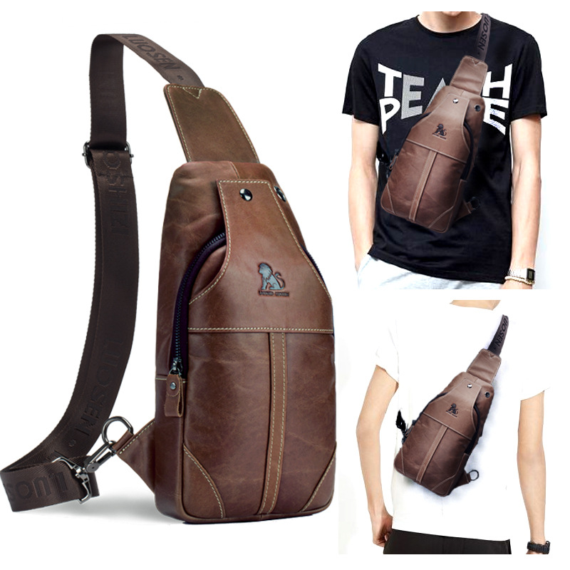 Men Genuine Leather Cowhide Vintage Sling Chest Back Day Pack Travel Cross Body Messenger Shoulder Bag