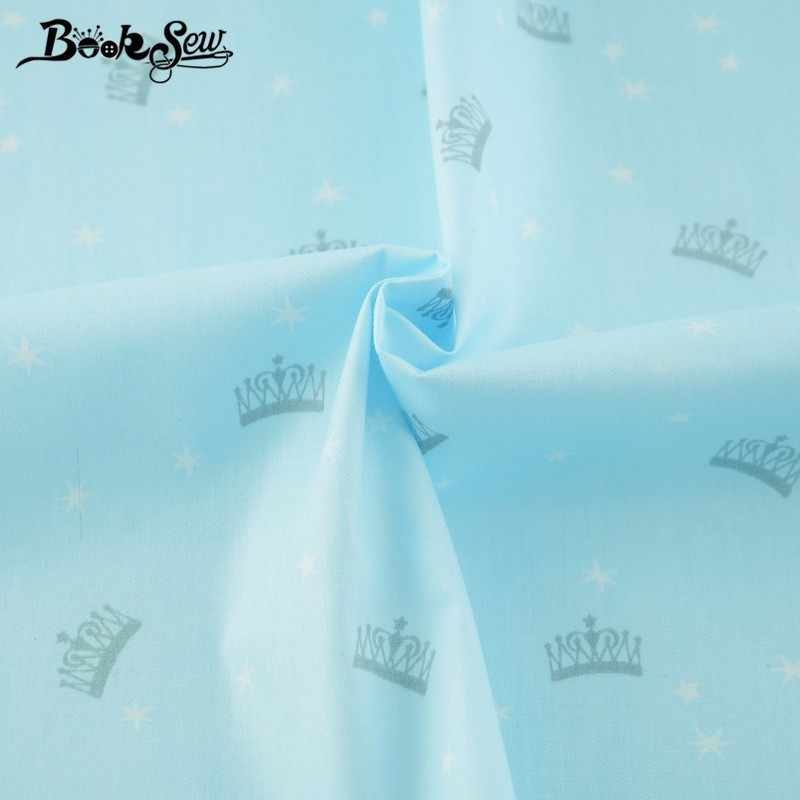 Booksew New Printed Crown Designs Tecido DIY Scrapbooking Sky Blue Twill Cloth Cotton Fabric Dye Sewing Patchwork Tela Algodon