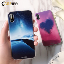 CASEIER Phone Case For iPhone X 7 8 Love Heart Patterned 6s 6 5 5s SE Fashion Funda Capinha Shell Couque