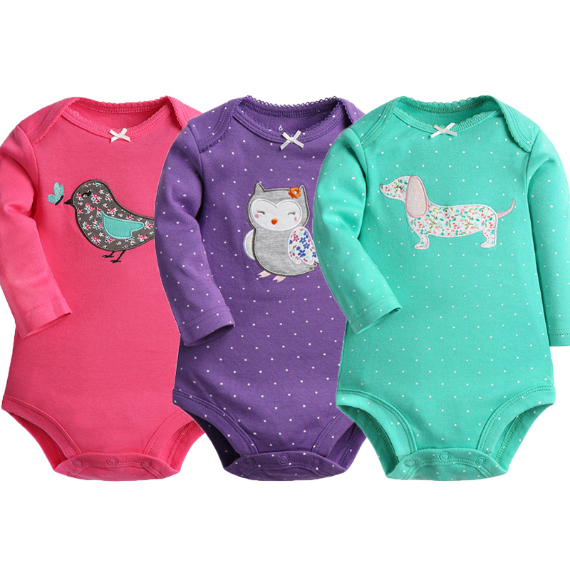 Baby Bodysuit 100% Cotton 3pieces/lot Autumn Spring Newborn Body Baby Long Sleeve Animal Pattern Boy Girl Pajamas Infant Clothes-in Bodysuits from Mother & Kids
