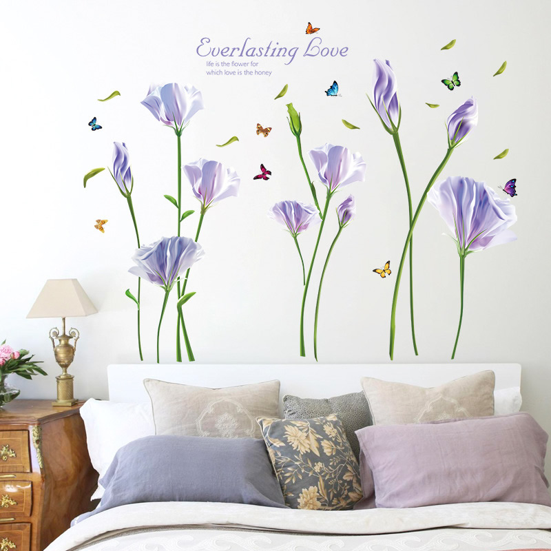 lovely living room wall decals | 3D Beautiful Flower Wall Stickers for Couple Bedroom ...
