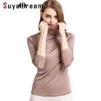 女性 tシャツ 100% 本物のシルクタートルネック長袖シャツ 2018 ボト秋冬のプライマーのシャツプラスサイズスパンデックストップ