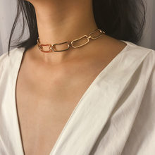 Kingdeng punk torques retro minimalista quadrado item camisola corrente personalidade geométrica oco corrente colar feminino gargantilha 2019