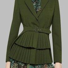 Autumn Winter Notched Long Slim Blazers Vintage Women Pleated Blazer Sashes Sleeve Female Tops