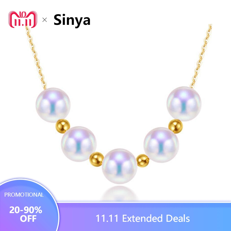 Sinya Cute 18k gold beads Natural Round Pearls necklace for ladies women mom girls gift with 45cm au750 gold chains best gift real diamond princess pendant 8 5 10 5mm natrual round pearl charm necklace in 18k au750 gold with 45cm chains for women ladies