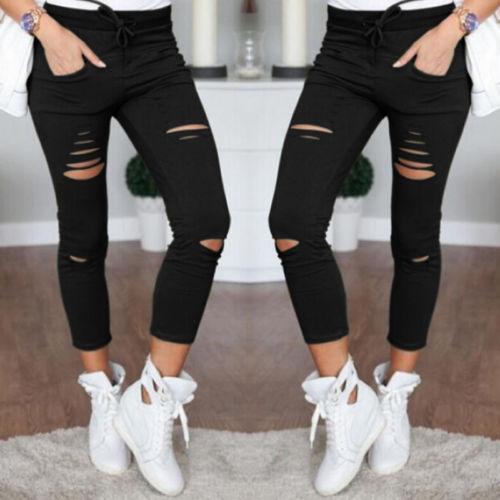 arrival Hot Multi Women Pencil Leggings Casual Denim Skinny Holes Strap Jeans Pants High Waist Slim Innrech Market.com