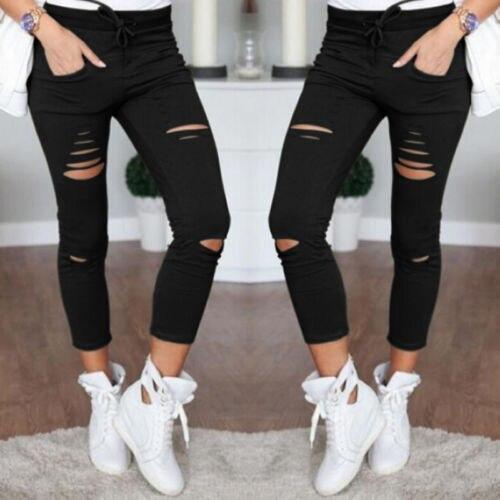 arrival Hot Multi Women Pencil Leggings Casual Denim Skinny Holes Strap   Jeans   Pants High Waist Slim   Jeans   Trousers