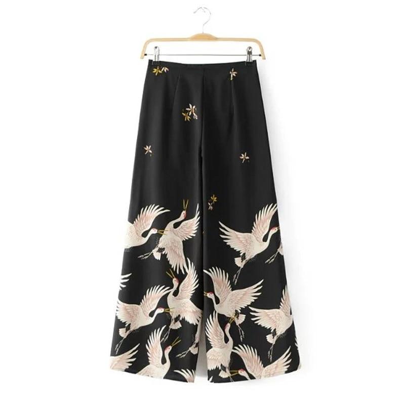2019 New Women Brand Vintage Elegant Position Crane Print Loose   Wide     leg     pants   Long Trousers Leisure Zipper Fly   Pants