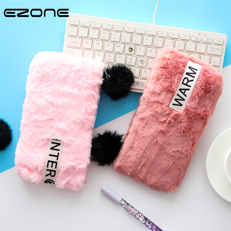 EZONE 1 PC Plush Pencil Bag Winter Warm Fur Furry Candy Color Pencil Cases With Hairball Zipper For Student School Office Supply