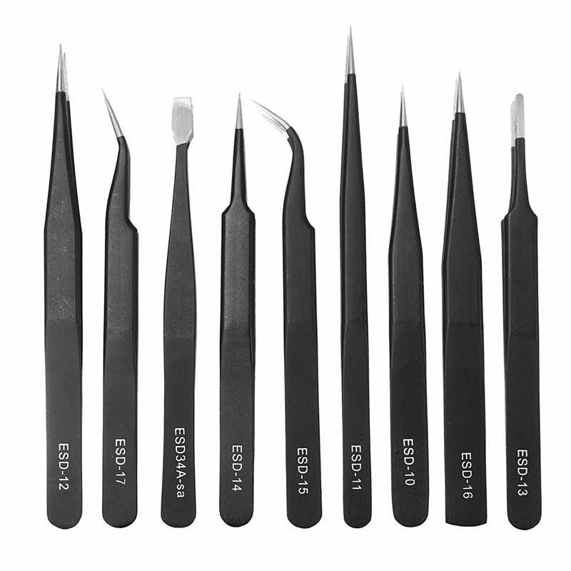 9pcs/Bag Precision Tweezers With Ceramic Tweezer Medical Steel Clamps For Electronics Soldering DIY Bend Phone Repair Tools Kit
