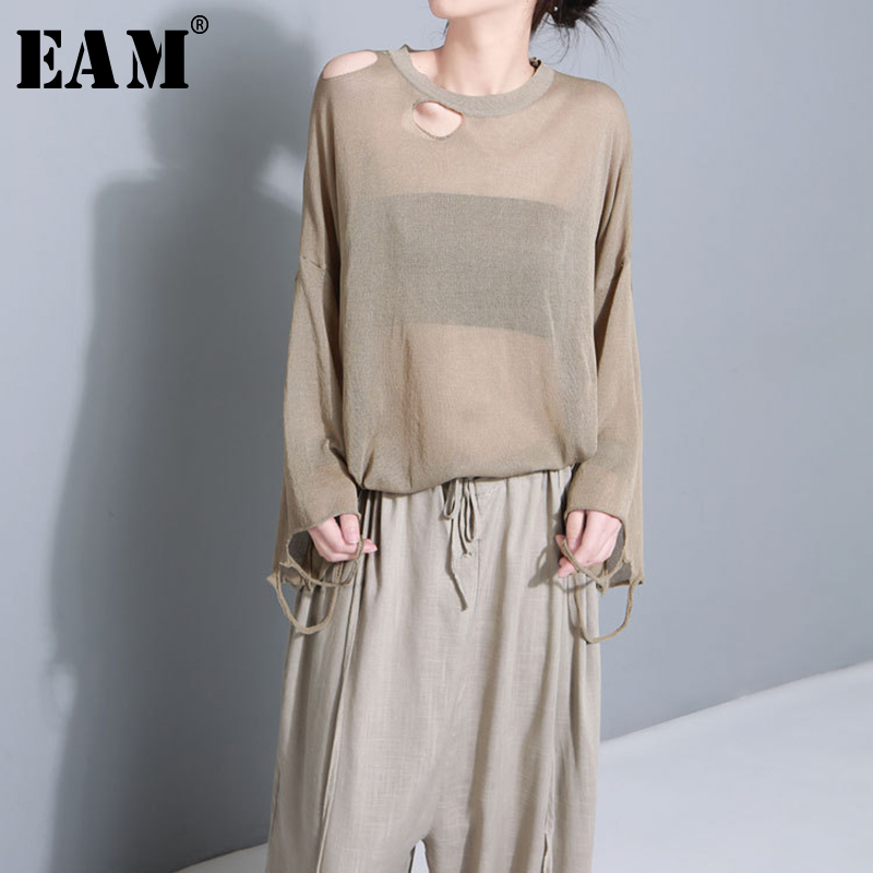 [EAM] 2019New Spring Summer Round Neck Short Sleeve Perspective Hollow Out Loose Big Size Knitting T-shirt Women Fashion JG231