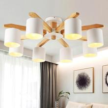 Современные Скандинавская цельная древесина подвесной светильник с выключателем гостиная для спальня украшения дома 110 В 220