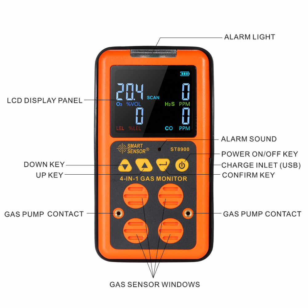SMART SENSOR ST8900 4 in 1 Gas Detector Analyzers H2S and CO Monitor  Industrial Digital Toxic Gas Carbon Monoxide Detectors tool