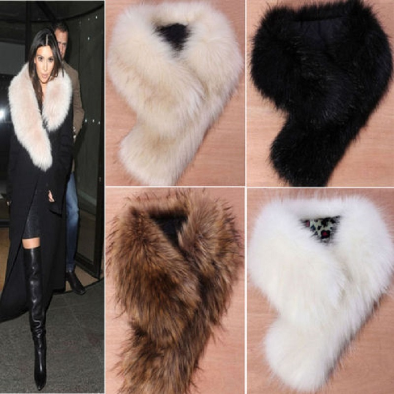 Fashion Stylish Warm Female Women Faux Fur Collar Ring Scarf Fluffy Winter Shawl Wrap Stole Scarfs