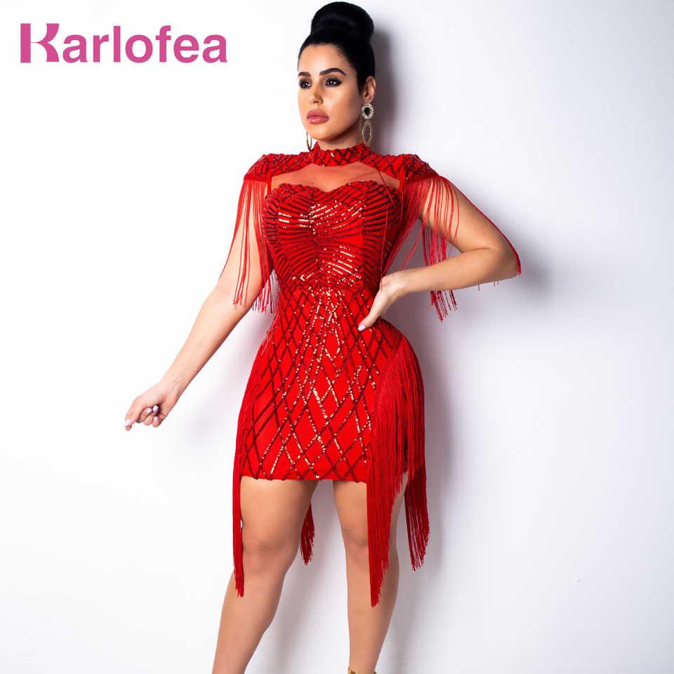 074c16a65558 Karlofea Women Fashion Sequin Birthday Party Dress Chic Tassel Fringe  Sleeve Bodycon Dress Red Sexy Club