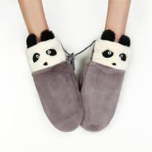 1 Pair Cute Panda Female Winter Thick Soft Fleece Double Layer Plush Wool Warm Gloves Women Cartoon Full Fingers Gloves Mittens