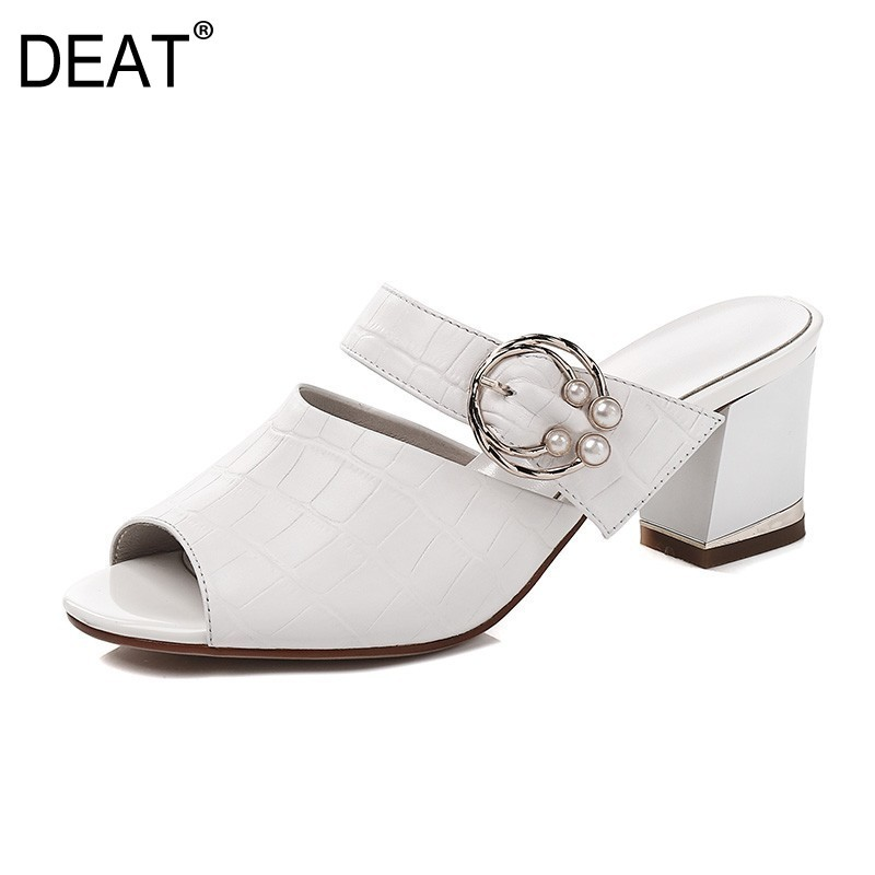 DEAT 2019 New Spring Summer Round Toe Shallow Stone Grain Pu Leather Outside High Heels