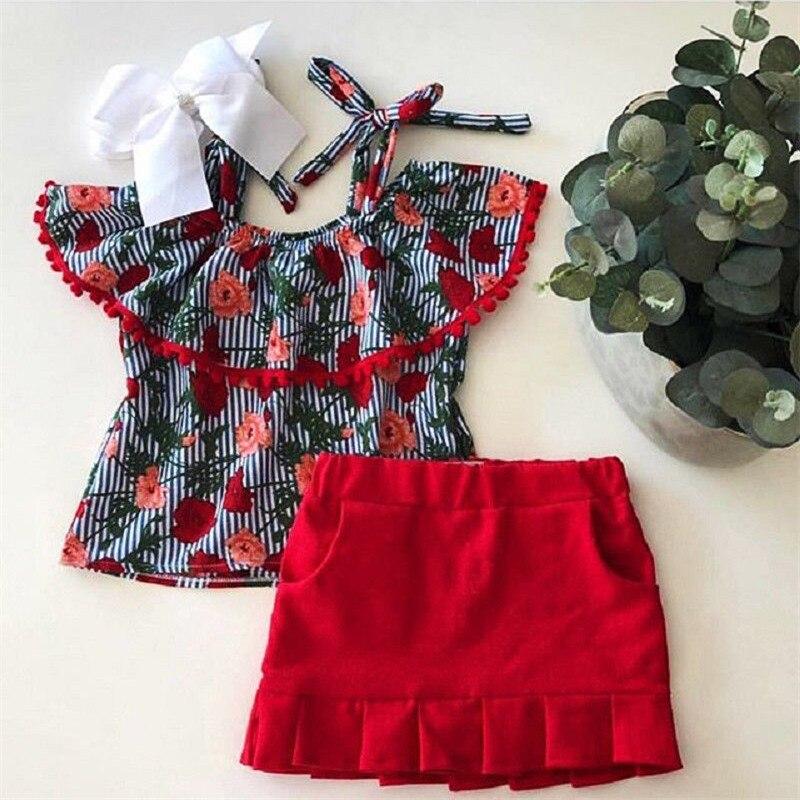 1-6 T Mode Kleinkind Kinder Baby Mädchen Blume Kleidung Set Rüschen Kragen Off Schulter Tops Röcke Set Floral Kleid Set Outfit