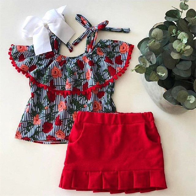 89a5fd8bcf281 US $5.39 10% OFF|1 6T Fashion Toddler Kids Baby Girls Flower Clothes set  Ruffles collar Off Shoulder Tops Skirts Set Floral Dress set Outfit-in ...