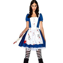 Game Alice Madness Returns Women Cosplay Costume Halloween Carnival  Uniforms Blue Maid Dress Restaurant Servant Outfit Clothing 3c1d3dba9d04
